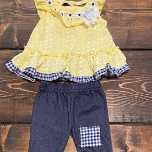 Little Lass Yellow Plaid Baby outfit